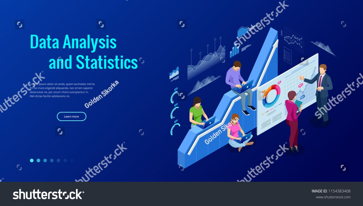 Isometric Web Banner Data Analysis And Statistics Concept Vector