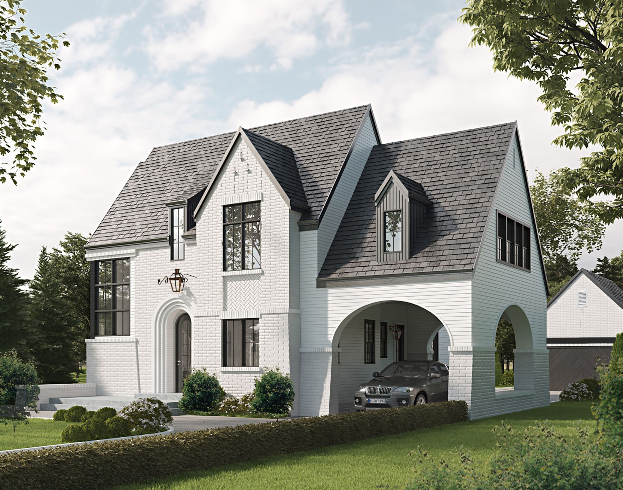 Rendering for new home in cramers pond 36 home community near charlotte country club plaza midwood charlotte nc to be built by luxury home builder
