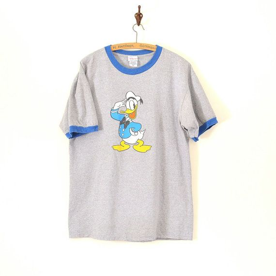 8690639811c7 Vintage Donald Duck T Shirt- 90s Disney Ringer Tee - Vtg Disneyland Cartoon  Shirt