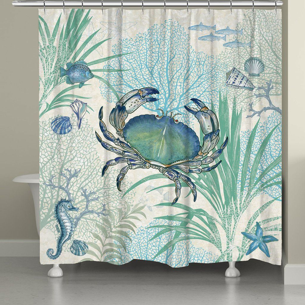 Blue crab shower curtain against colors and the oujays