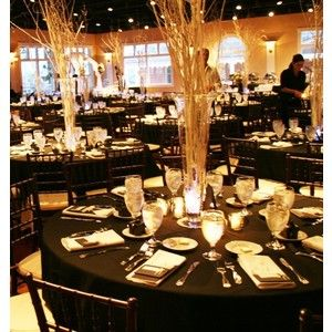 Black White Centerpieces Wedding Reception Photos Pictures