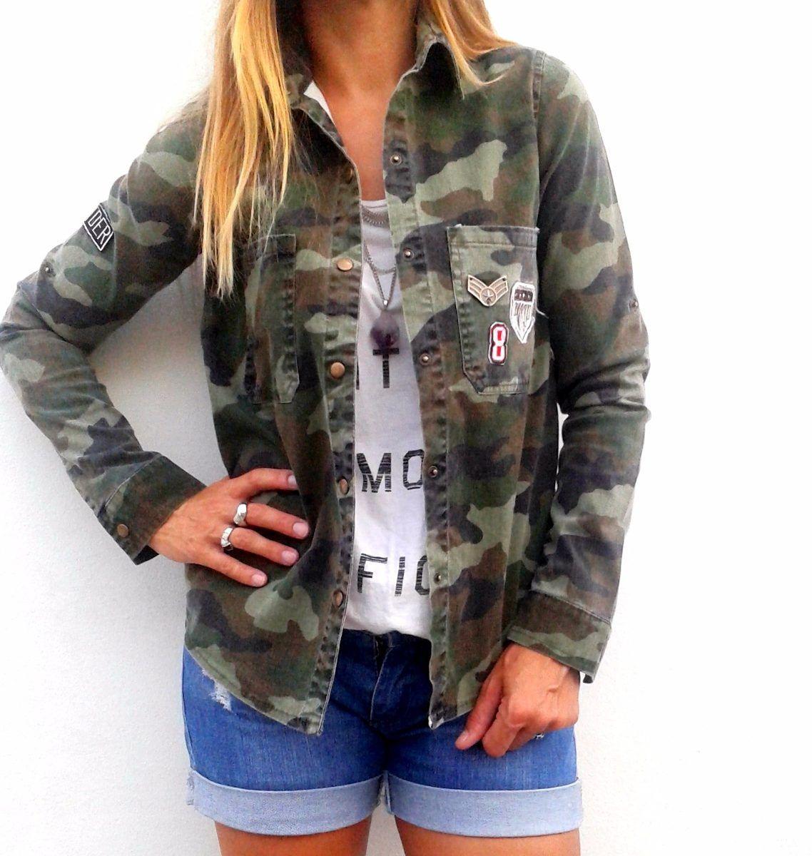 mirada detallada d3a4c 8083c camisa militar de mujer camisas larga verde en mercado ...
