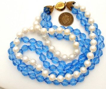 """Haskell Pearl Necklace Vintage Blue Glass Bead Multi 3 Strand Signed Miriam 17"""" 