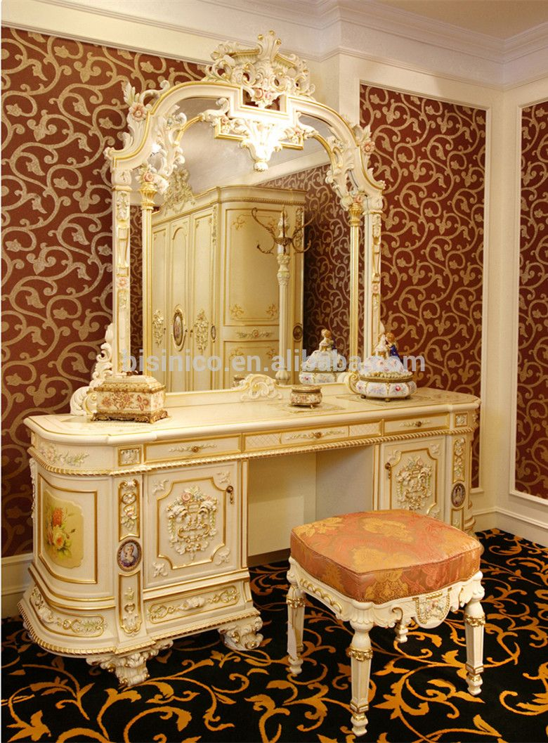 Luxury French Rococo Bedroom Furniture Dresser Table
