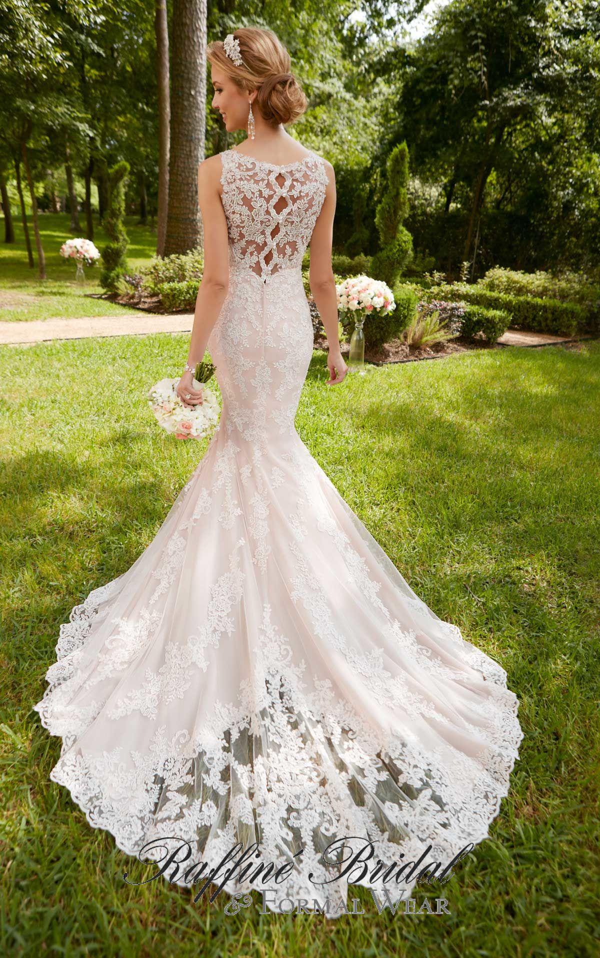 62a1c336c31 Stella York  6343 - This scalloped lace keyhole back wedding dress by Stella  York brings the drama
