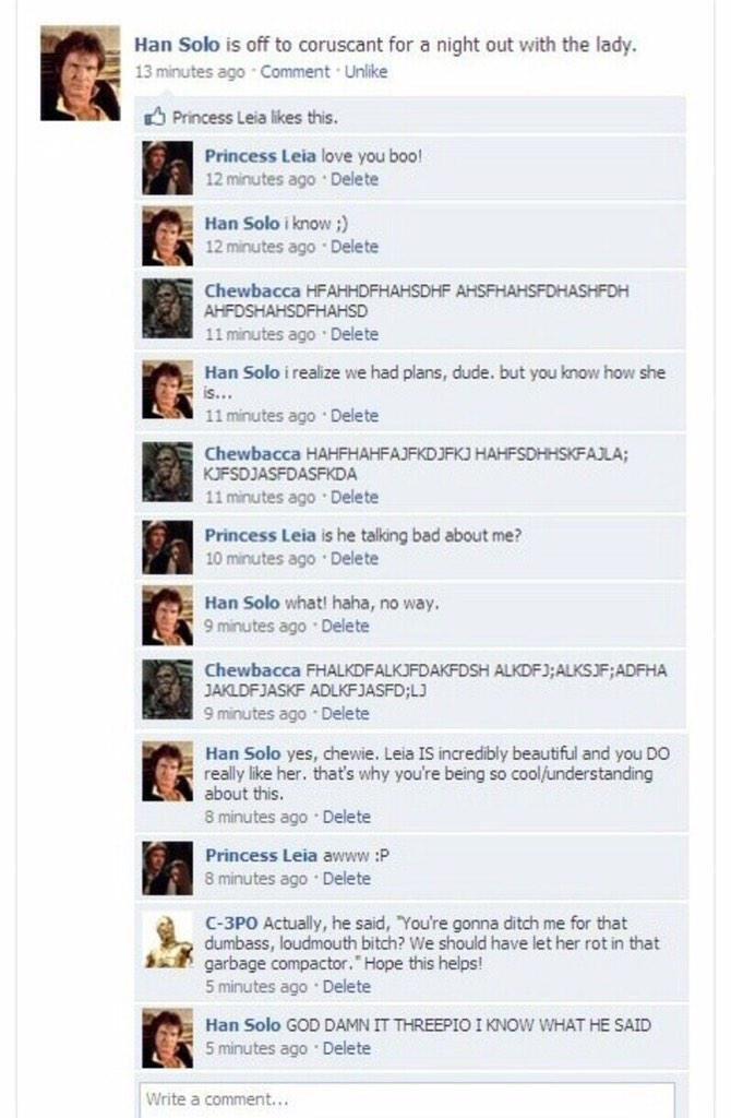 Han Solos Facebook Post Hilarious