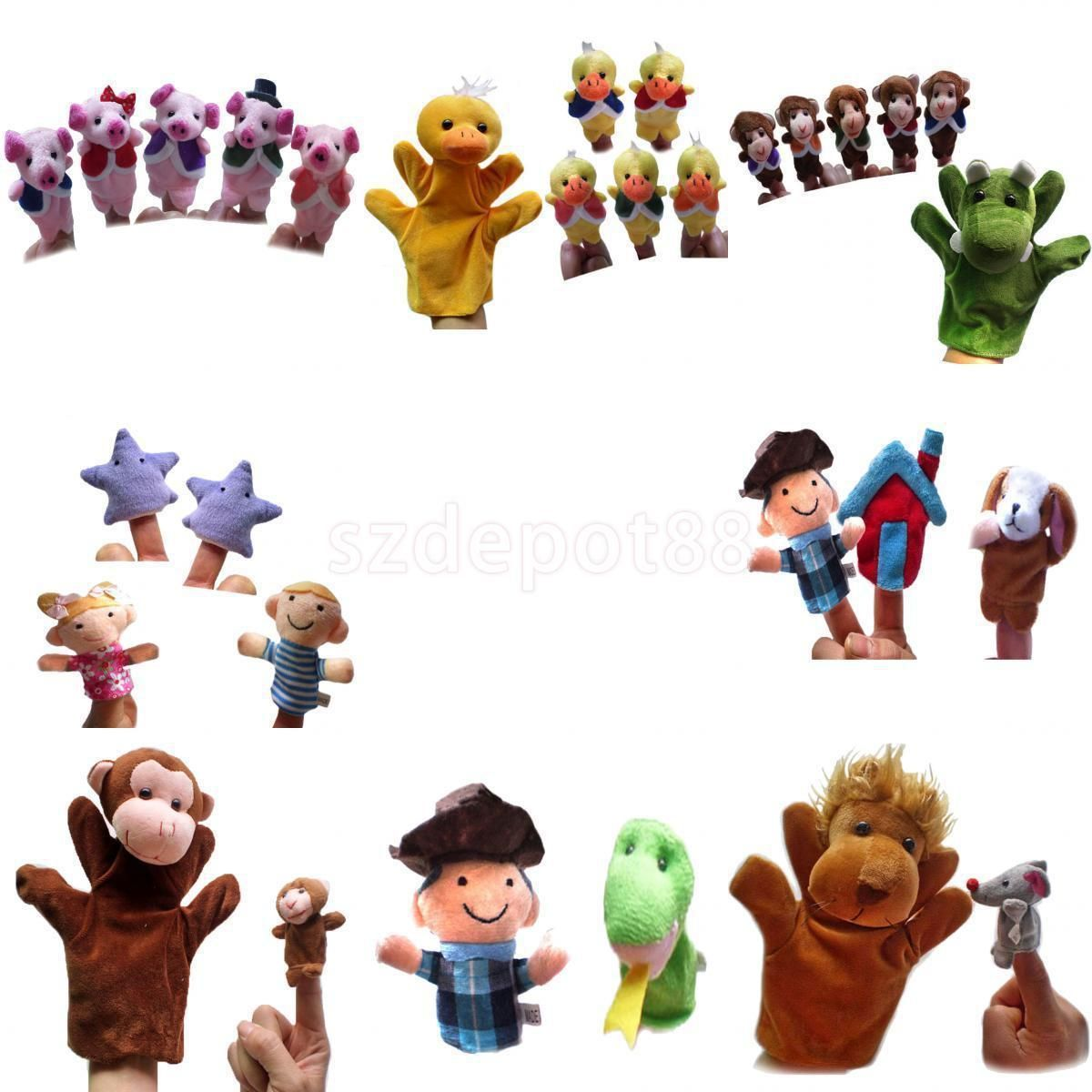 Family Finger Puppets Plush Toy Kids Rhyme Teaching Story Telling Accessories
