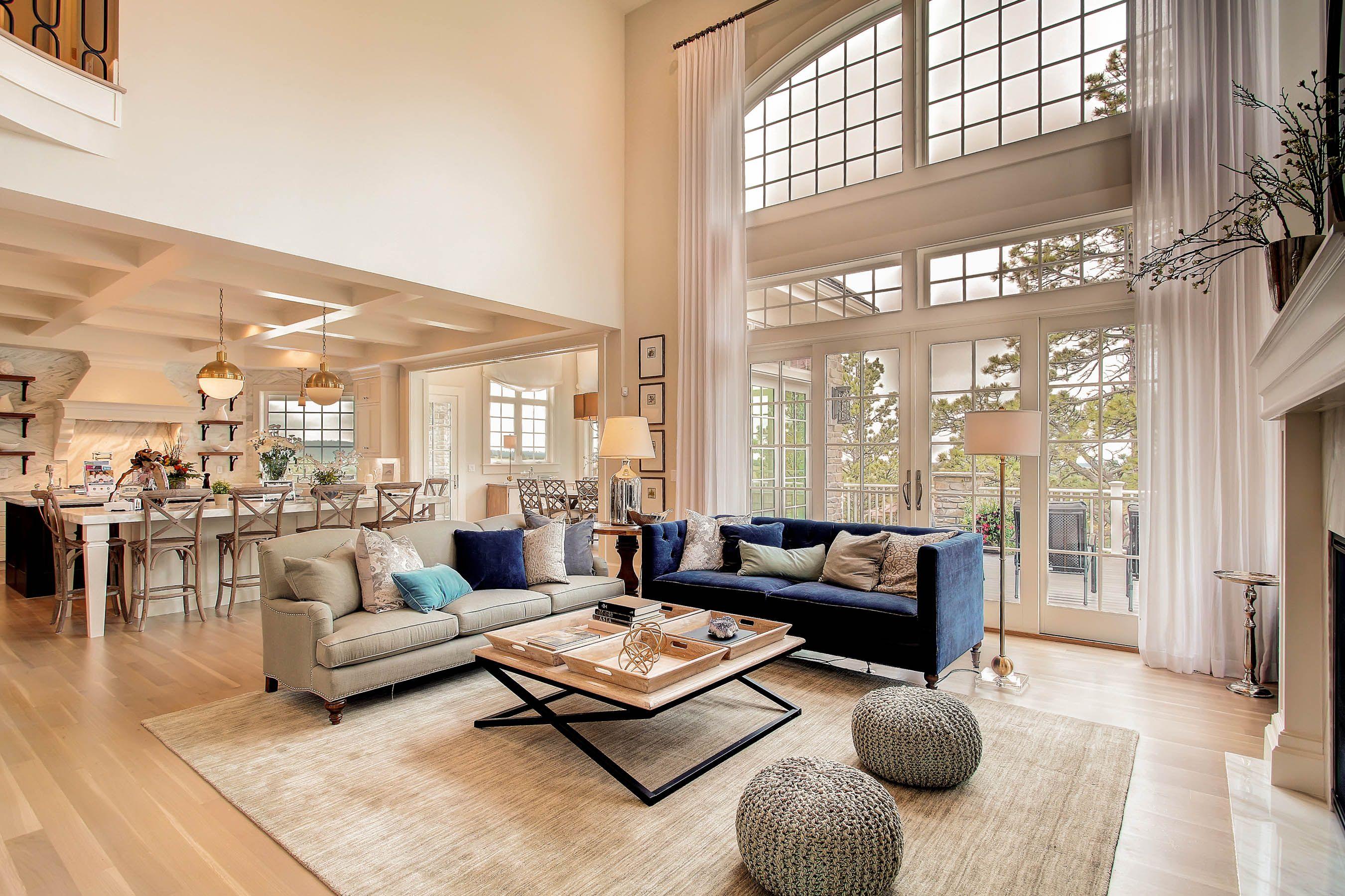 Family Room With 20 Ft Ceilings  White Wash Oak Floors
