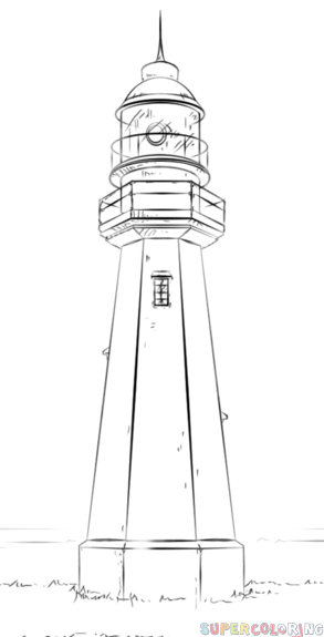 How to draw a lighthouse step by step drawing tutorials for kids and beginners