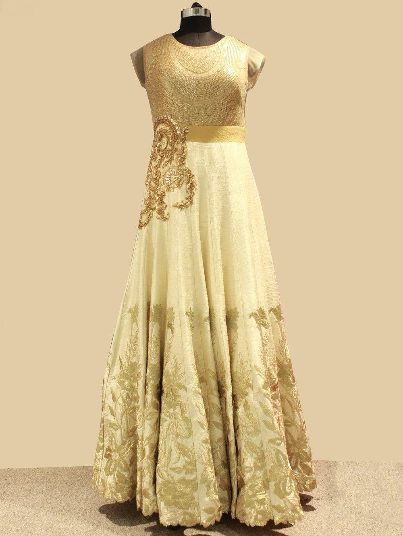 9572bca3b Cream Silk Evening Gown With Handwork (Free Size) | Gown | Designer ...