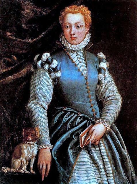 Portrait of a Lady with a Dog, 16th century Italian gown on