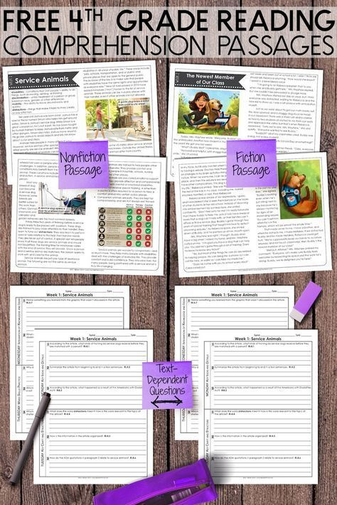 FREE Fourth Grade Weekly Reading Co…