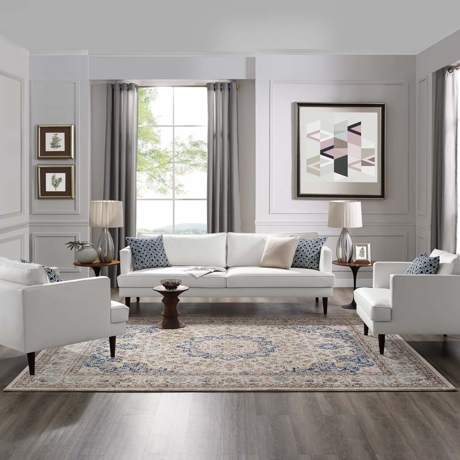 38 Elegant Living Rooms That Are Brilliantly Designed: Meryam Distressed Persian Medallion 8x10 Area Rug