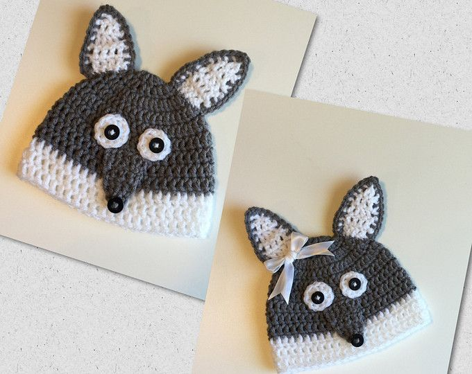 Wolf hat woodlands animal - handmade crochet knit hat- beanie - knit ...
