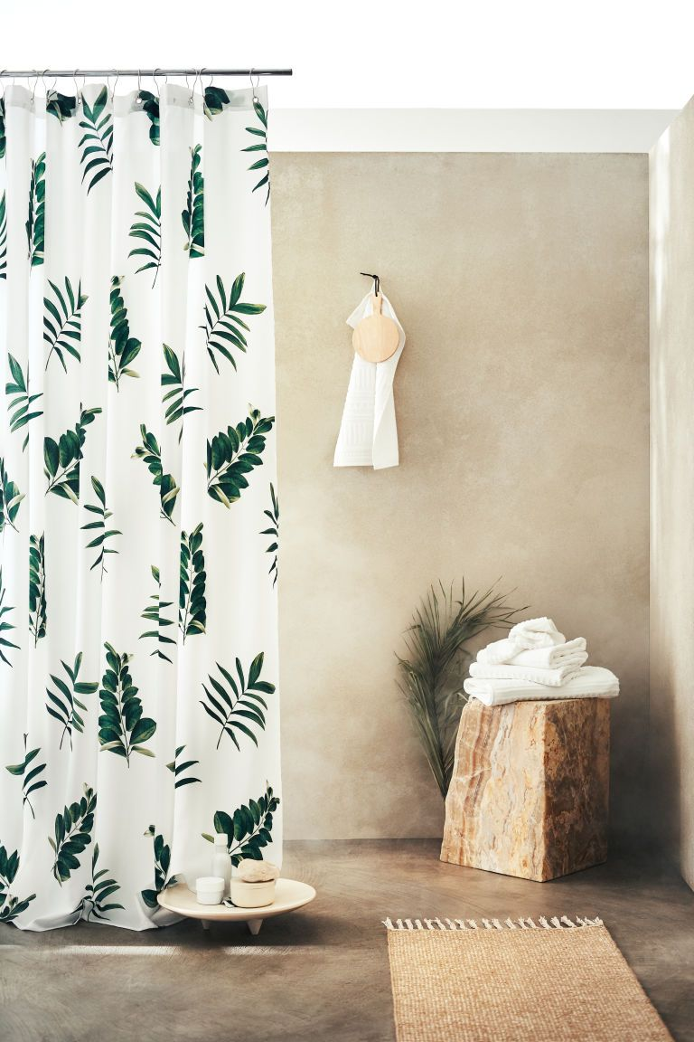 Patterned Shower Curtain White Leaves H M Us 1 Patterned
