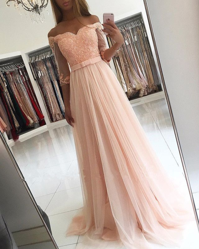 cbf27d52922 modest prom dresses with sleeves,pink bridesmaid dress,off shoulder evening  gowns,tulle