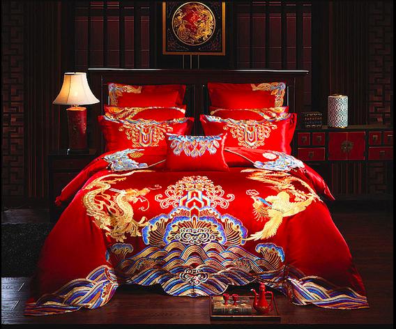 Dragon & Phoenix Chinese Wedding Bedding Sets | Wedding bed ...