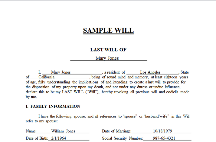 Your Free Will Forms  Testament Form Includes Simple Will