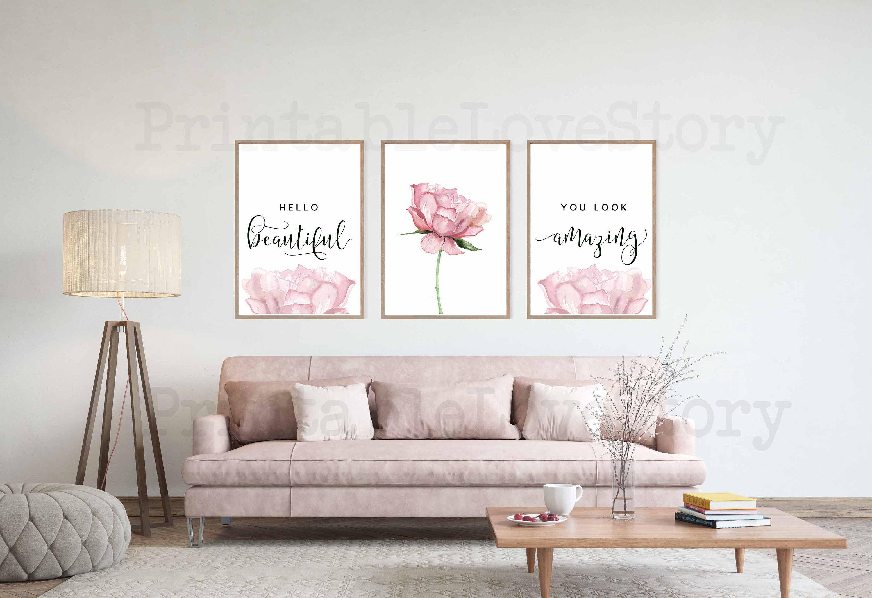 Hello Gorgeous Printhello Beautifulblush Pink Wall Etsy Pink Wall Art Pink Walls Blush Pink Bedroom Decor