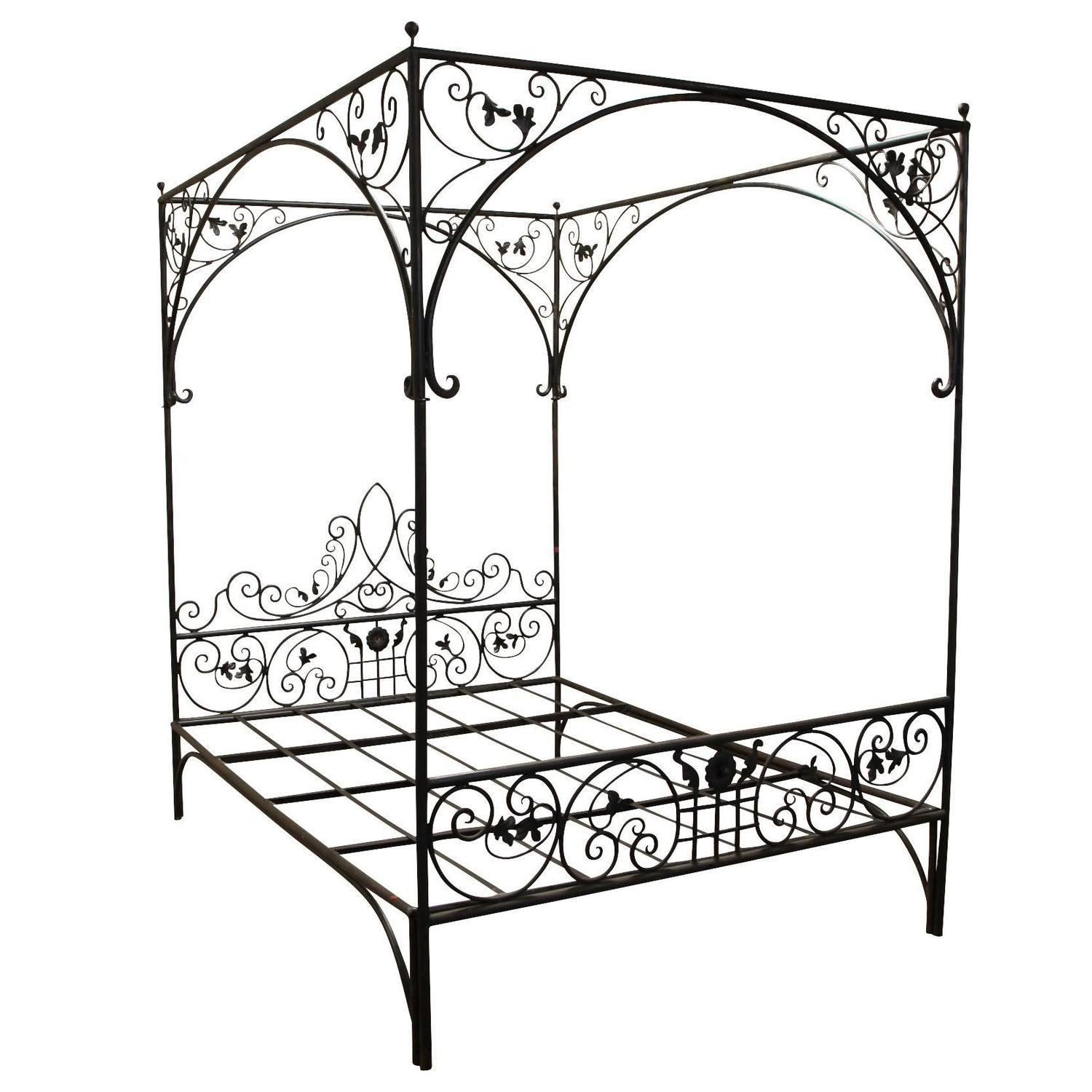 queen wrought iron vine canopy bed