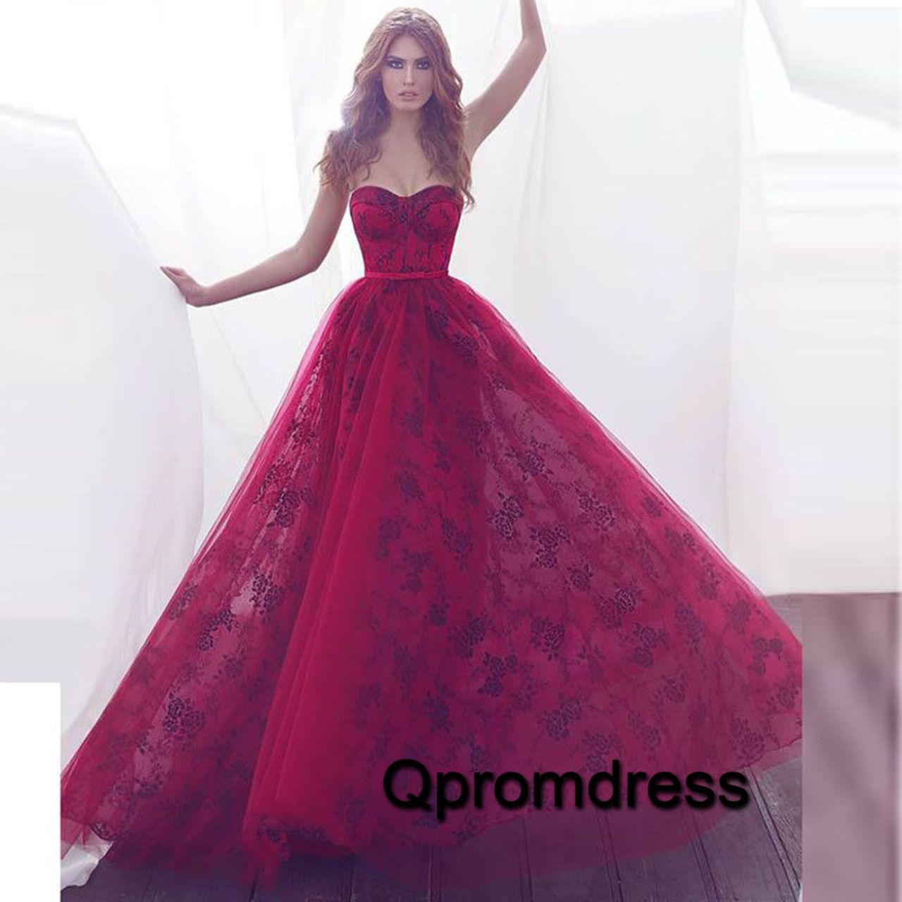 Sweetheart prom dress, ball gown, elegant rose organza long poofy ...