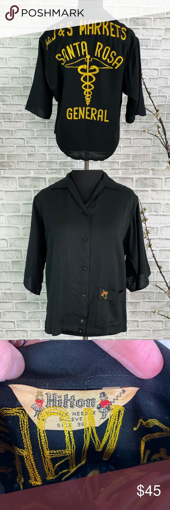 Vintage 1950s Hilton Bowling Shirt EUC Santa Rosa Brand