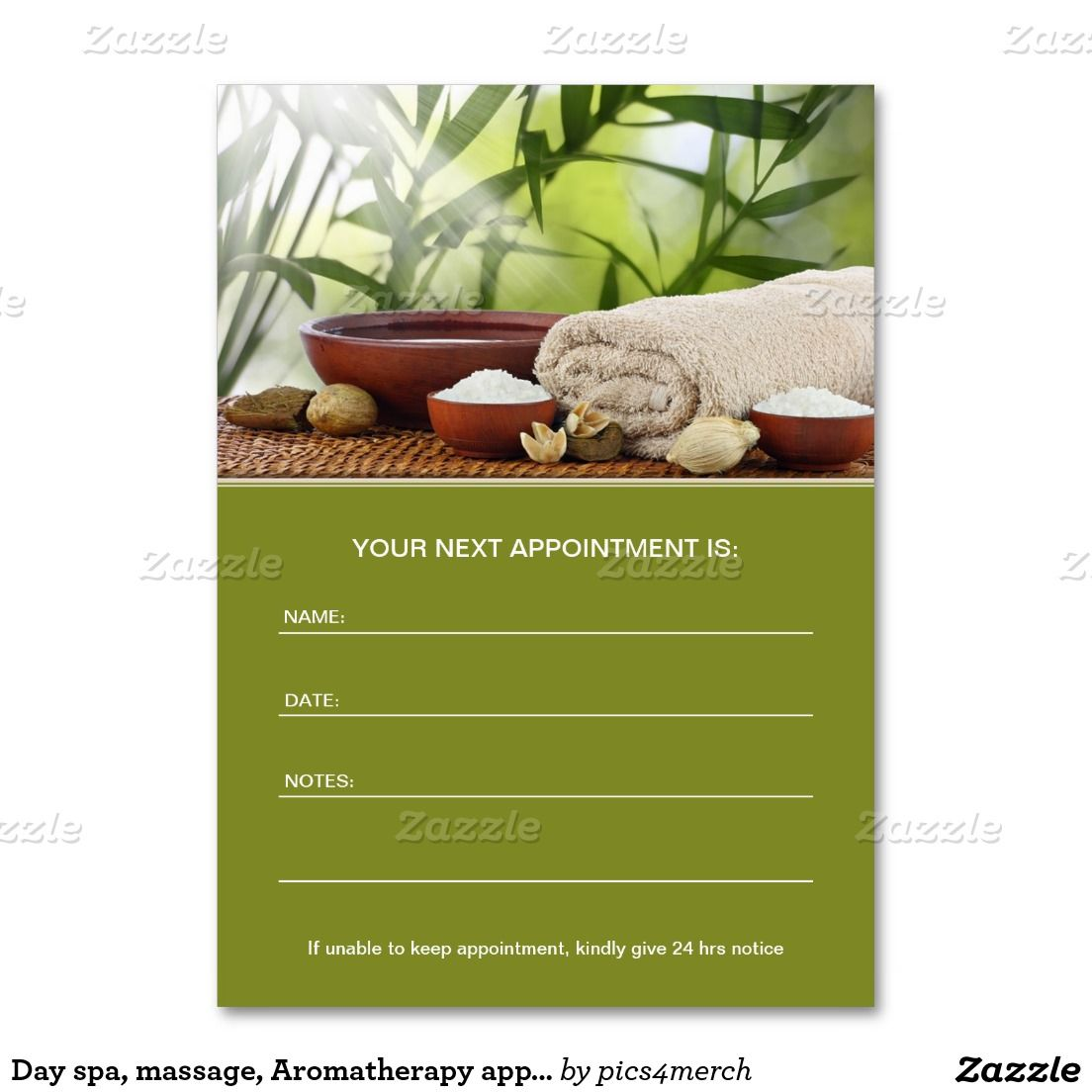 Day spa, massage, Aromatherapy appointment card Large Business ...