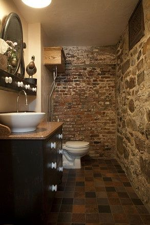 We Love This Rustic Exposed Brick Restroom A Similar Look Can Be Achieved With Our Thin Brick Tile In The Ballard Co Brick Bathroom Brick Decor Exposed Brick