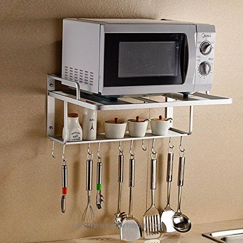 Aishine Double Bracket Alumimum Microwave Oven Wall Mount Shelf With Removable Hook Check It Out Now