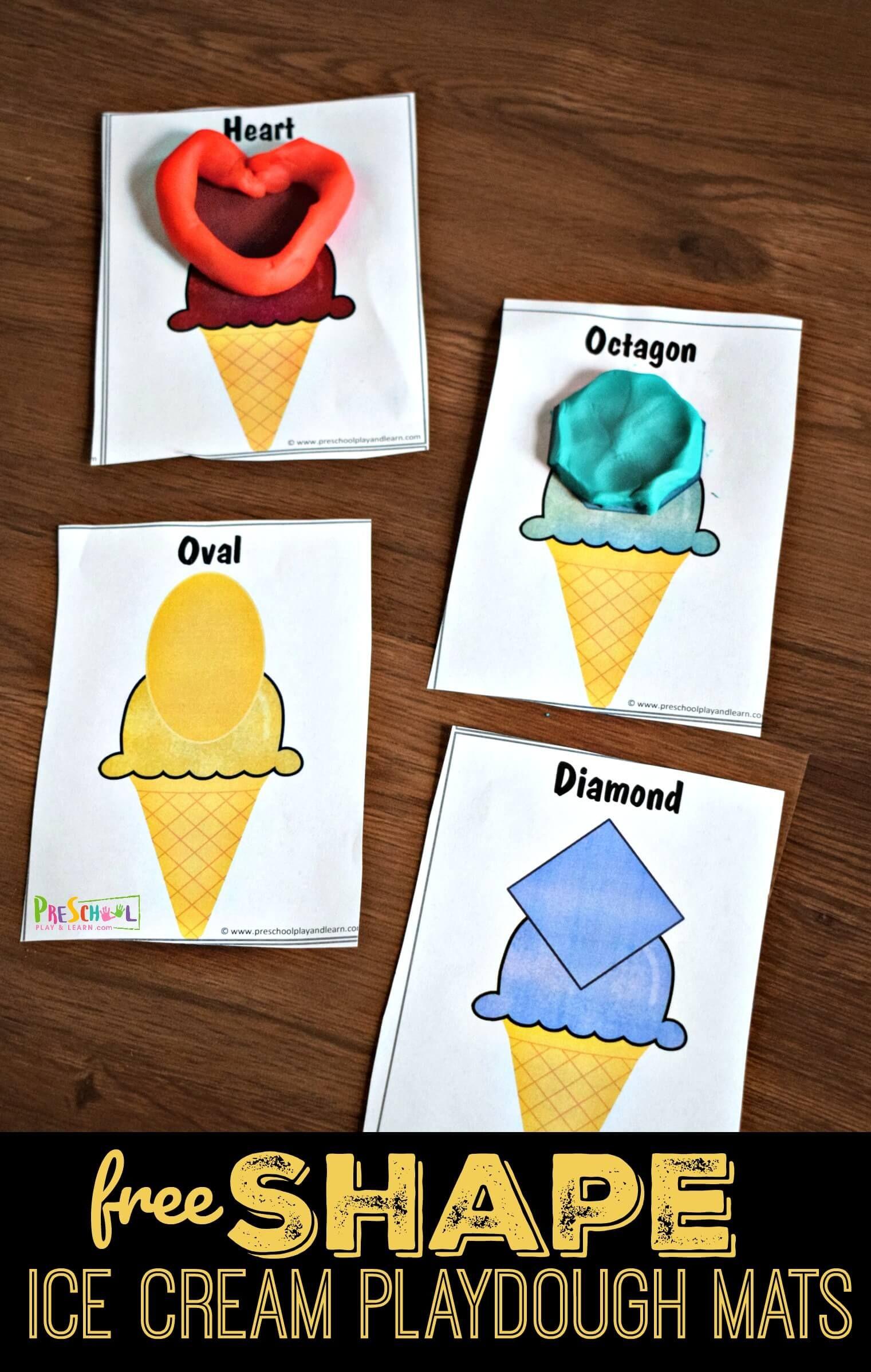 Free Shape Ice Cream Playdough Mats
