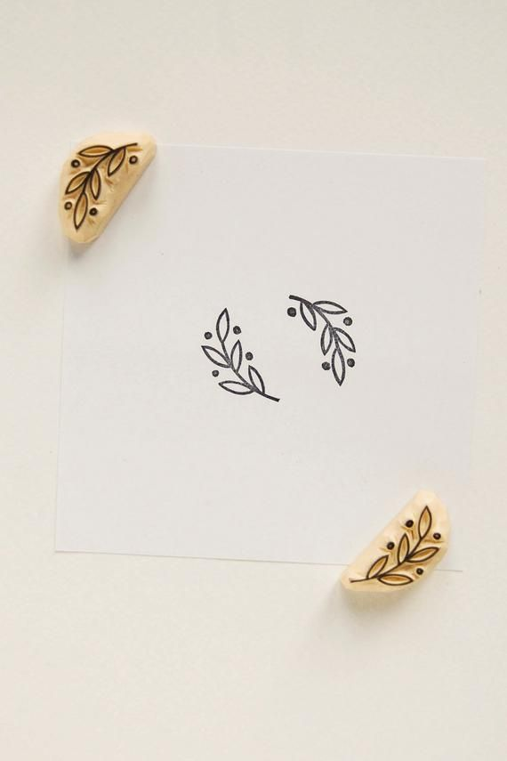 Laurel stamp, Rubber stamps set, set of 2 stamps, olive branch stamp, Botanical stamp, handmade stam