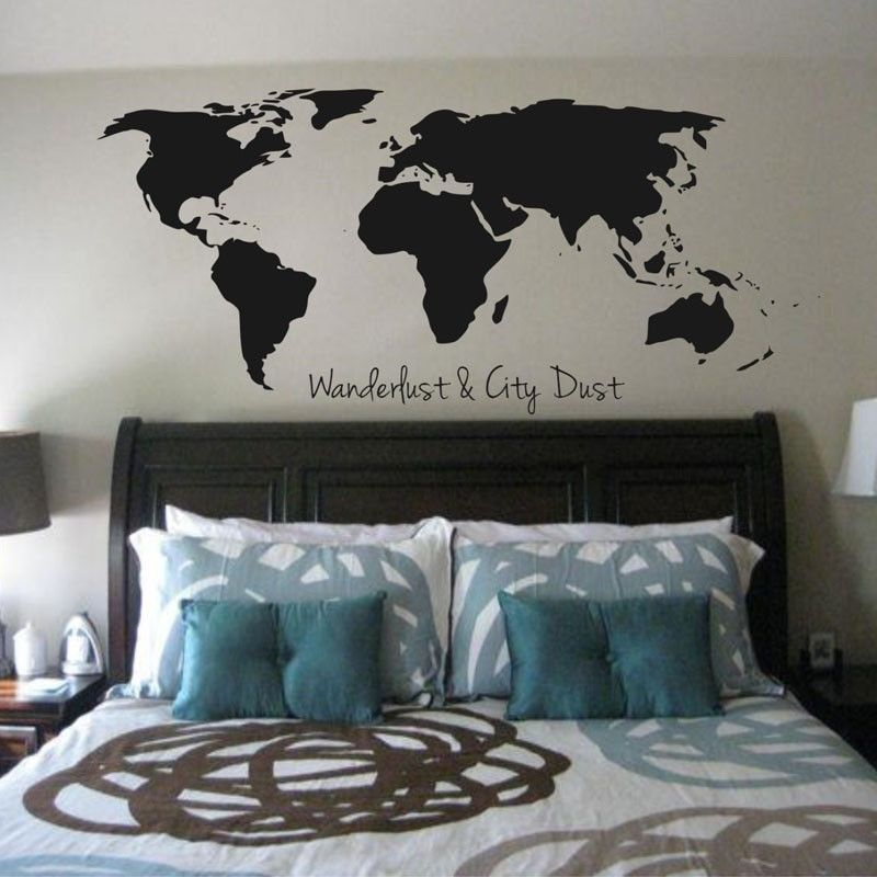 Wanderlust and city dust world map removable vinyl adhesive wall wanderlust and city dust world map removable vinyl adhesive wall decals gumiabroncs Choice Image