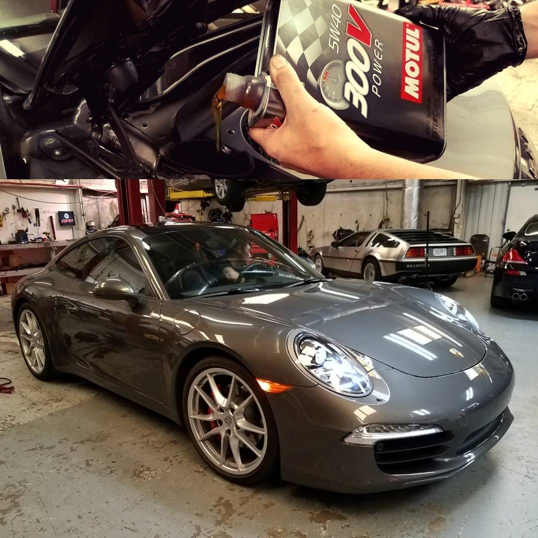 2016 Porsche 911 Carrera S 3.8L in for an oil change with Motul 300V Power 5W40 ester oil. Ready for some fun! German Autohaus Chattanooga Tennessee service parts maintenance repair