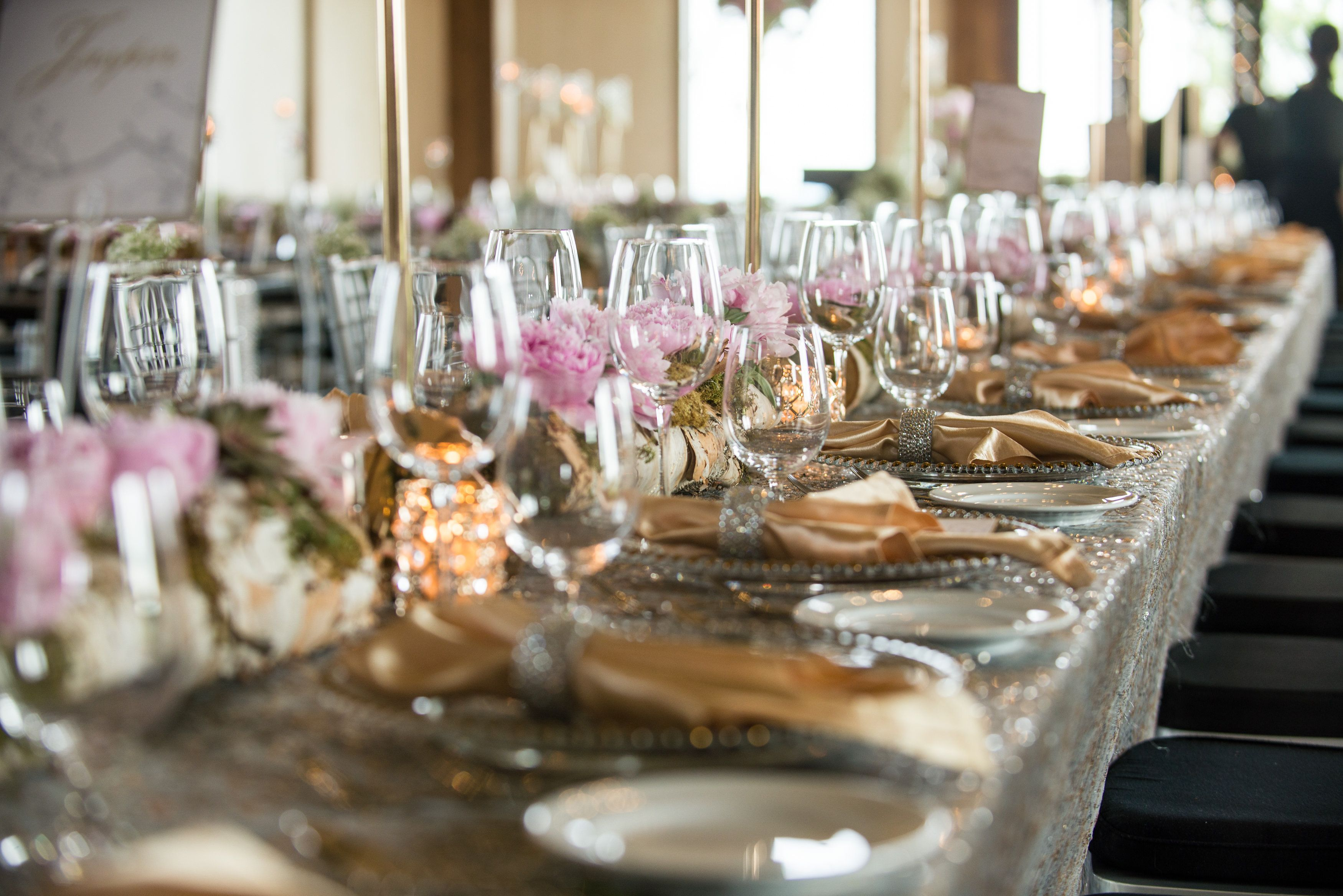 Wedding Guest Place Setting On Long Table