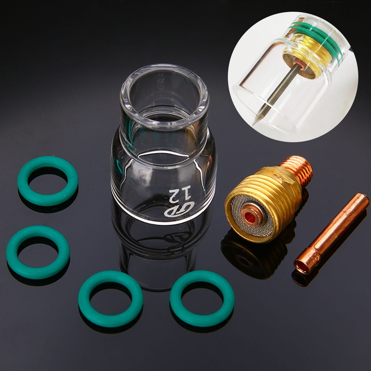 Tig welding gas lense cup collet kit for wp 9 20 25 torch bodies
