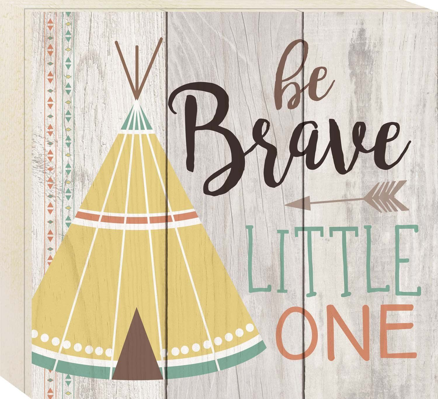 Be Brave Little One Tipi Grey 10 x 11 Wood Boxed Pallet Wall Art ...