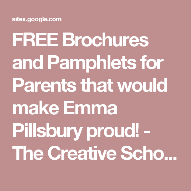 free brochures and pamphlets for parents that would make emma