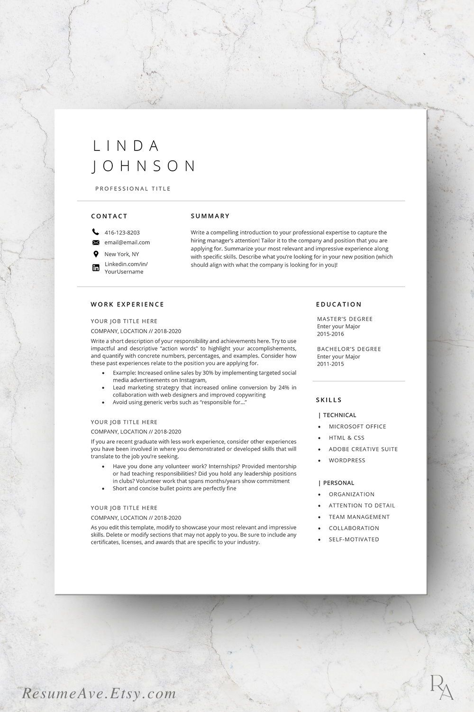 Executive resume professional design minimalistic