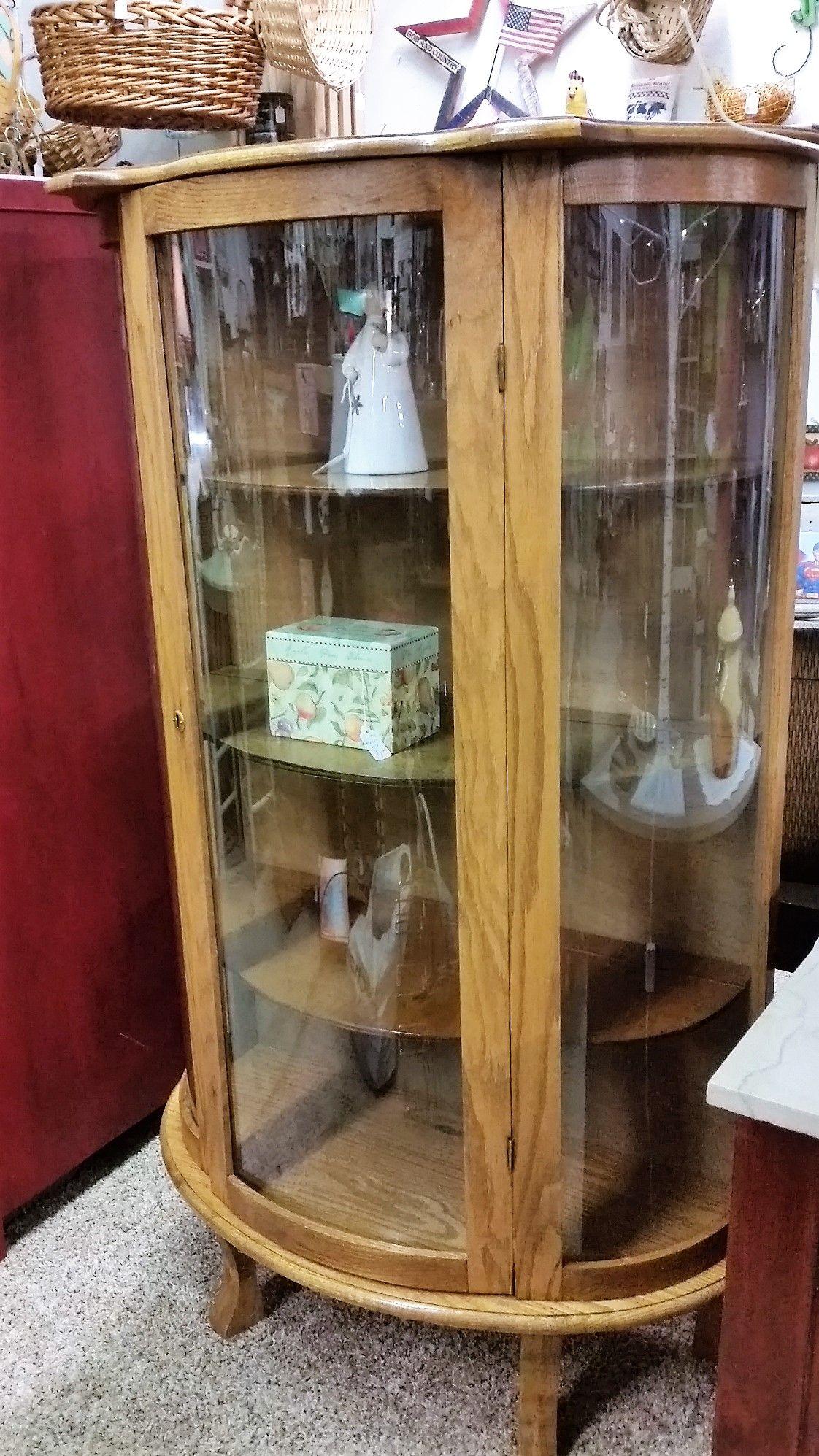 Oak curved glass china curio cabinet