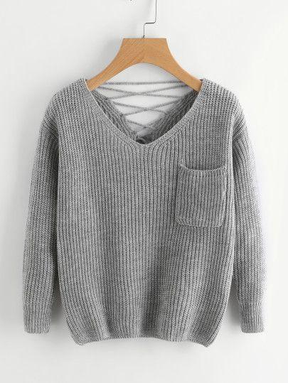 500caa7ef6 Shop Double V Lace Up Back Chunky Knit Jumper online. SheIn offers Double V  Lace Up Back Chunky Knit Jumper & more to fit your fashionable needs.