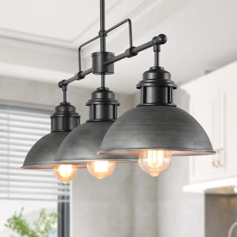 Linear Pot Lid Pendant 3 Lights Industrial Kitchen Lighting