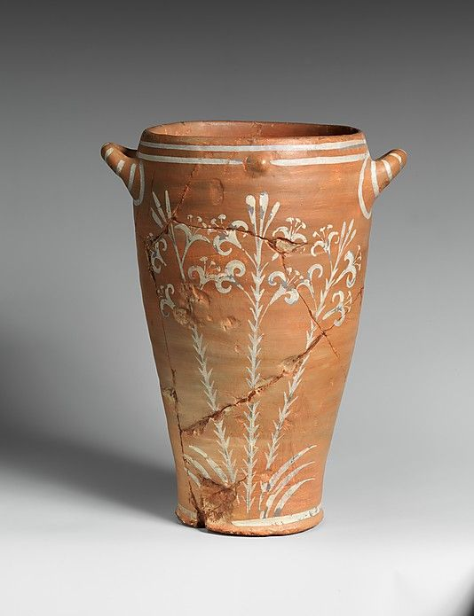 Reproduction of a jar with lilies Emile Gilliéron & Fils Period: Late Minoan IA Date: ca. 1600-1525 B.C. Culture: Minoan Medium: painted plaster.  The original is in the Herakleion Archaeological Museum, Crete.