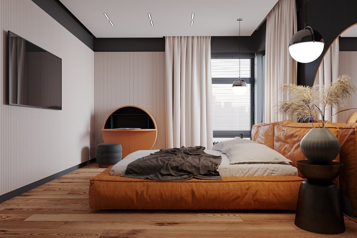 Creating Well Rounded Interiors With Circle Themes & Orange Accents in 2020  | Bedroom design trends, Latest bedroom design, Kitchen decor modern