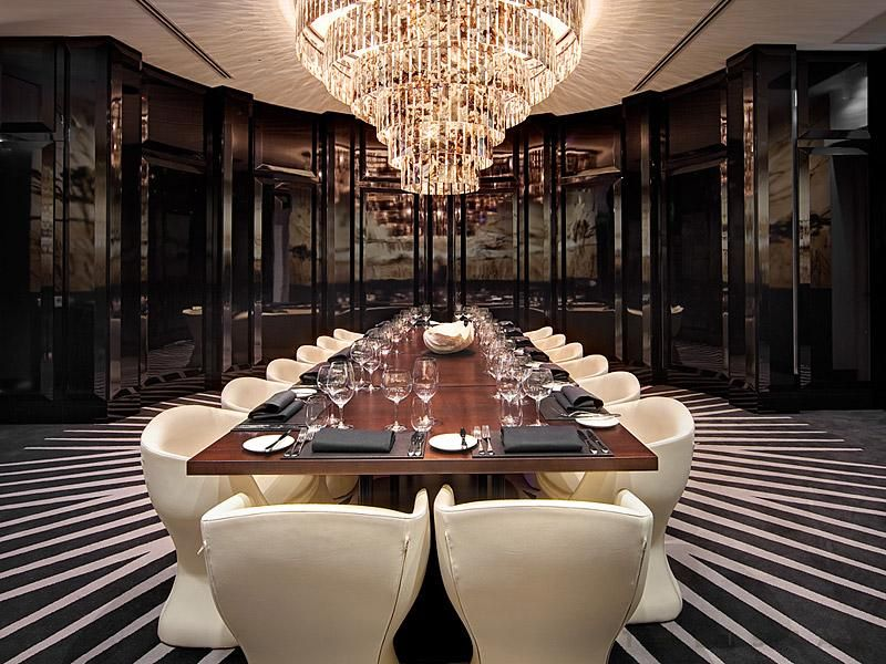 chandelier in the private dining room at black by ezard in sydney - Private Dining Rooms