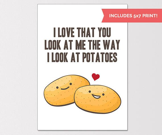 Anniversary Card I Love You Card Potato Lover Gift Clareu0027s - anniversary card template