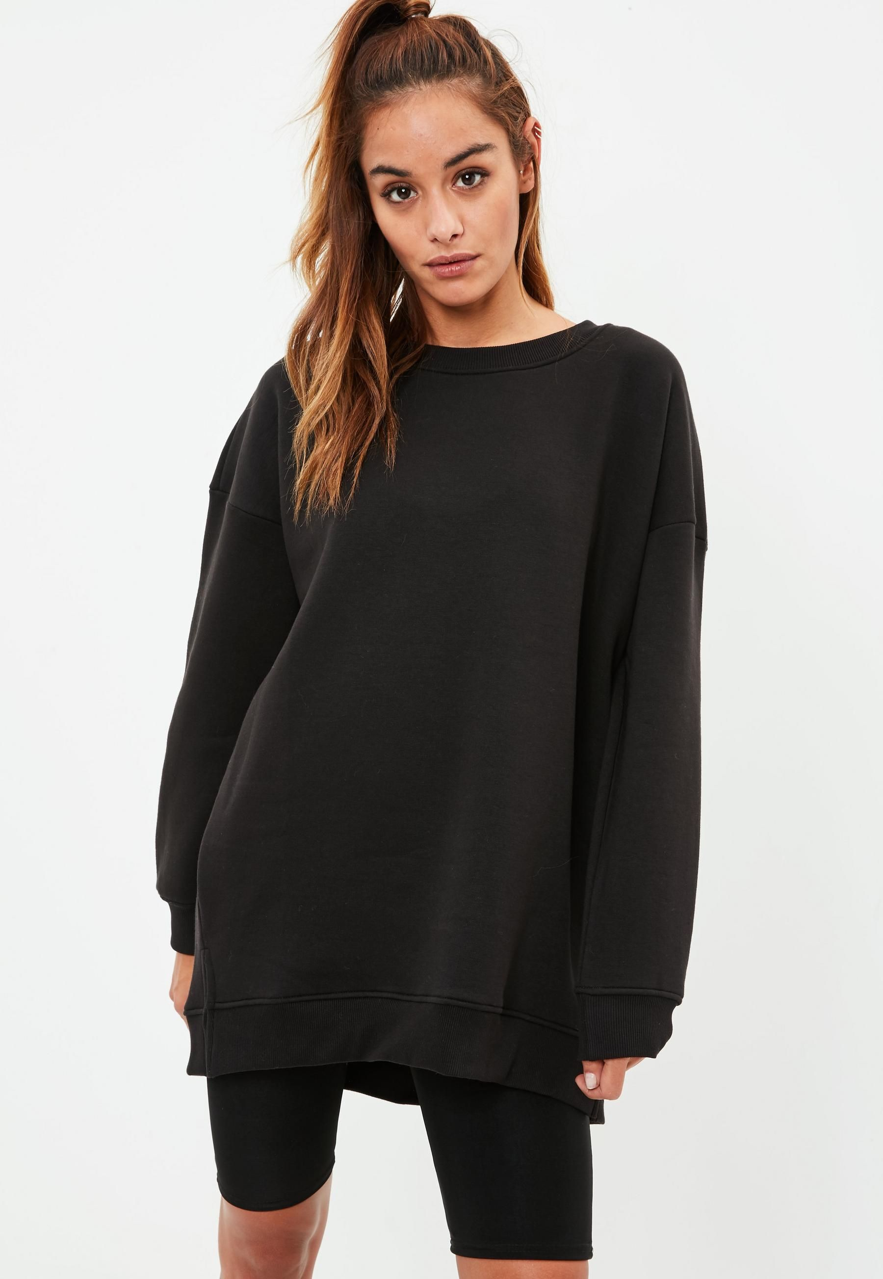 Black Fleeceback Oversized Crew Neck Sweatshirt Basic Sweatshirt Oversized Sweatshirt Outfit Crewneck Outfit [ 2607 x 1800 Pixel ]