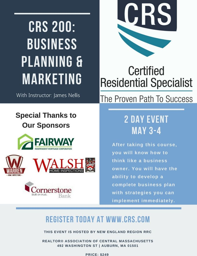 Join Us In This 2 Day Designation Class On May 3rd 4th Crs