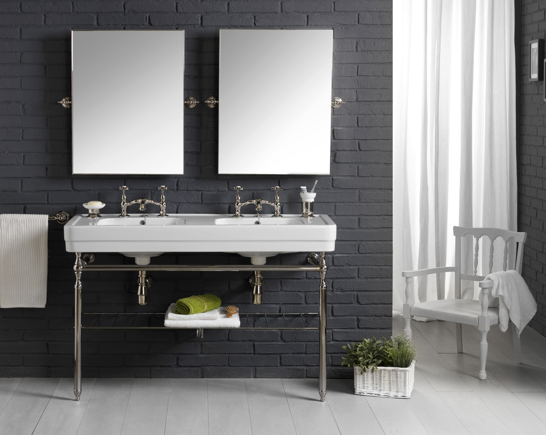 lavabo double provence 900 sur base mà tallique chromà e