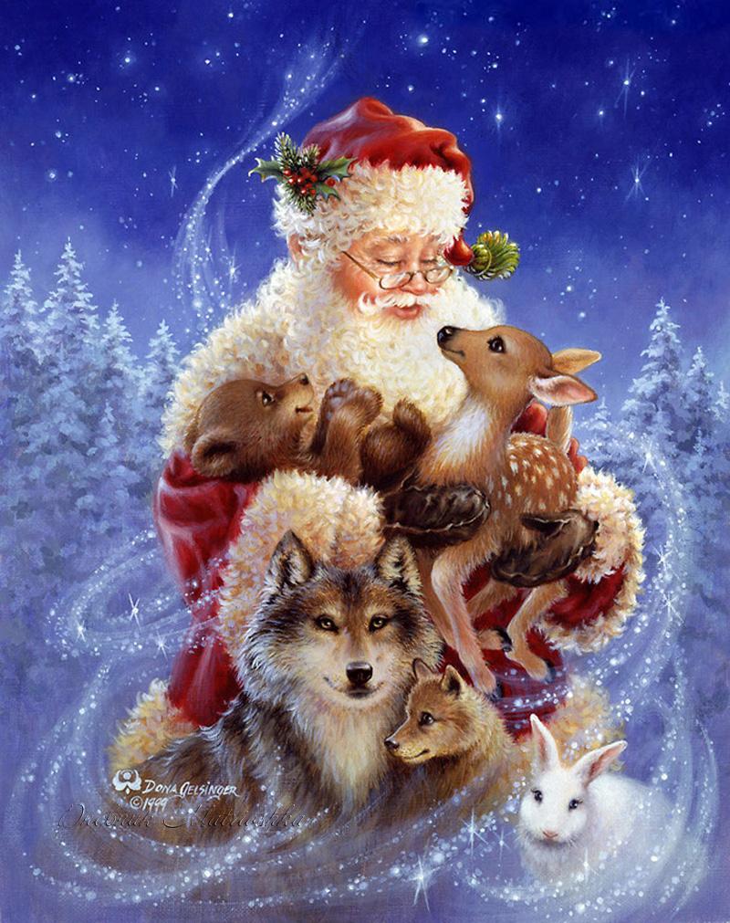 Открытка новогодняя с животными, днем