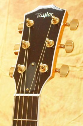 Taylor 616ce Headstock w Taylor Gold Tuners and Ebony overlay